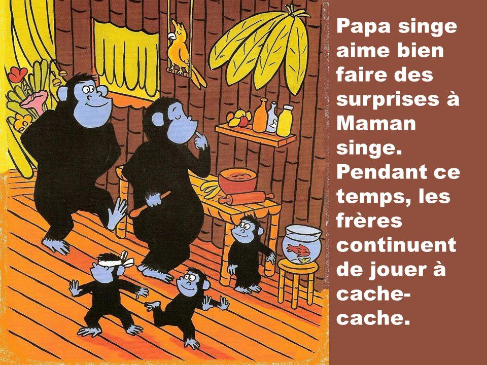 Papa singe aime bien faire des surprises à Maman singe