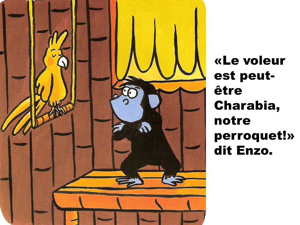 «Le voleur est peut-être Charabia, notre perroquet!» dit Enzo.