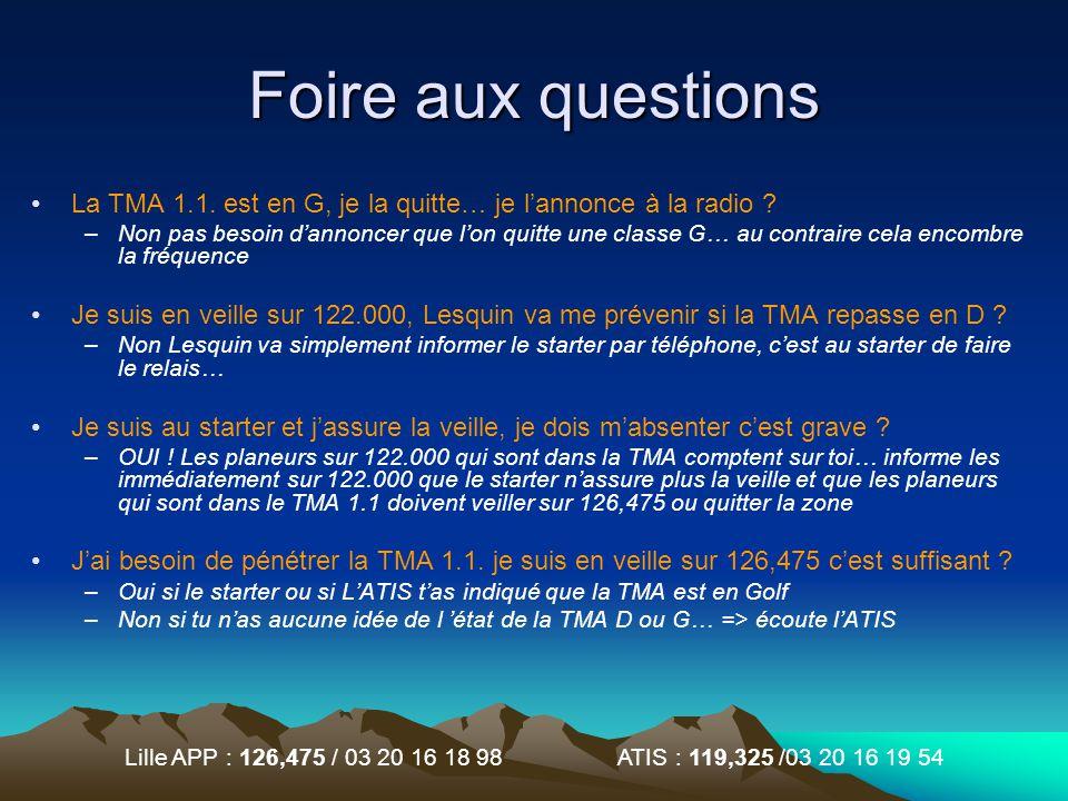Foire aux questions La TMA 1.1. est en G, je la quitte… je l'annonce à la radio