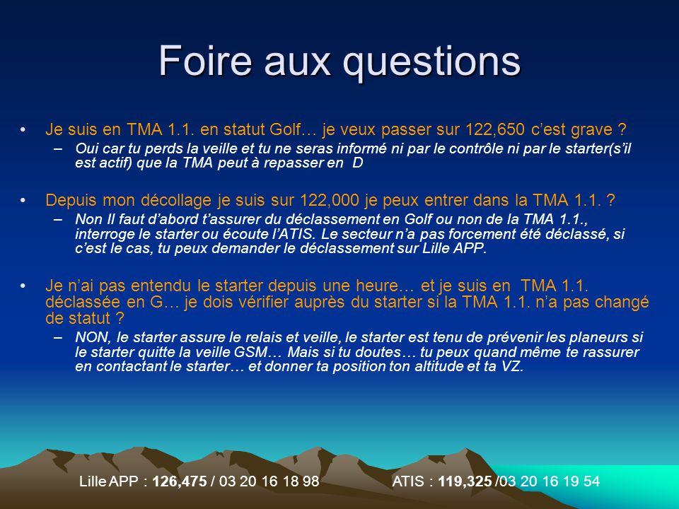 Foire aux questions Je suis en TMA 1.1. en statut Golf… je veux passer sur 122,650 c'est grave