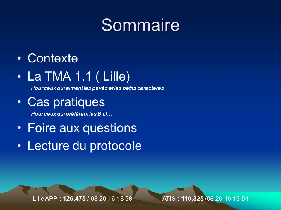 Sommaire Contexte La TMA 1.1 ( Lille) Cas pratiques