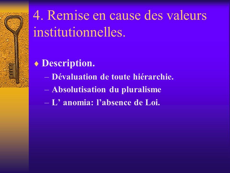 4. Remise en cause des valeurs institutionnelles.