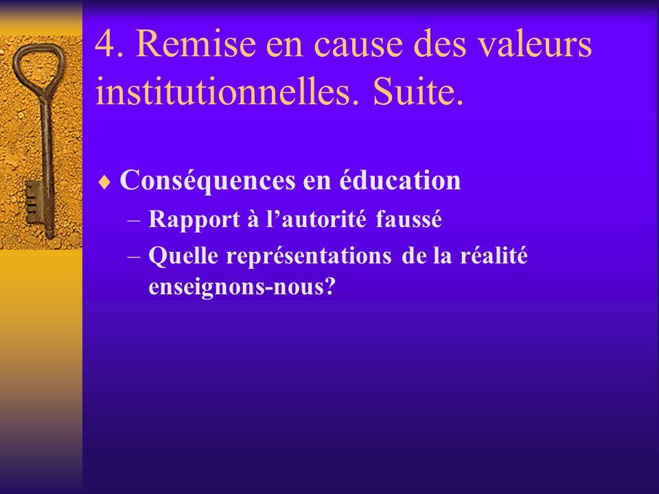 4. Remise en cause des valeurs institutionnelles. Suite.
