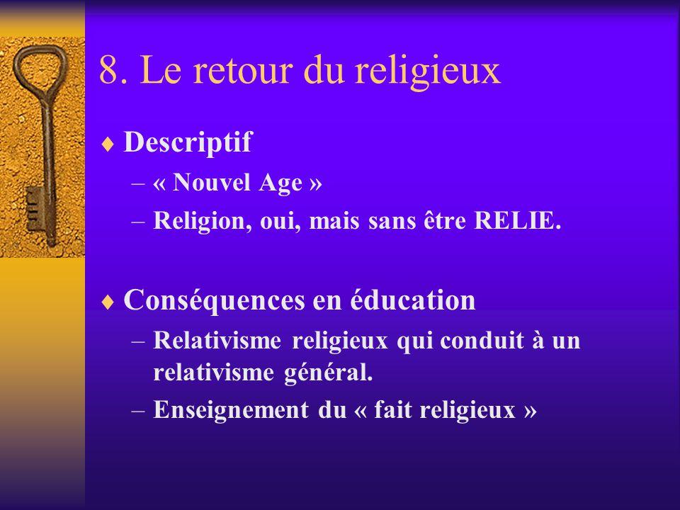 8. Le retour du religieux Descriptif Conséquences en éducation