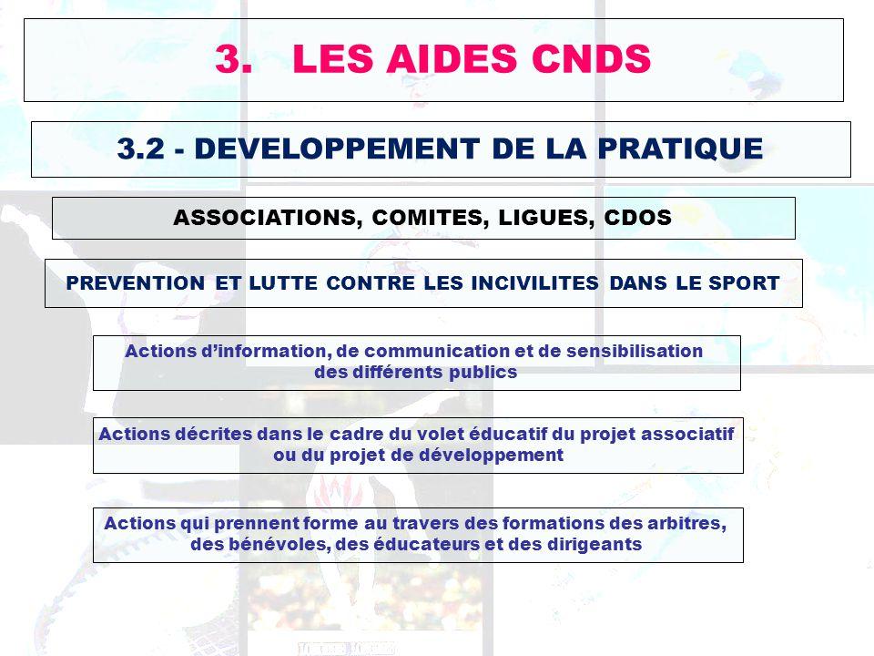 3. LES AIDES CNDS 3.2 - DEVELOPPEMENT DE LA PRATIQUE