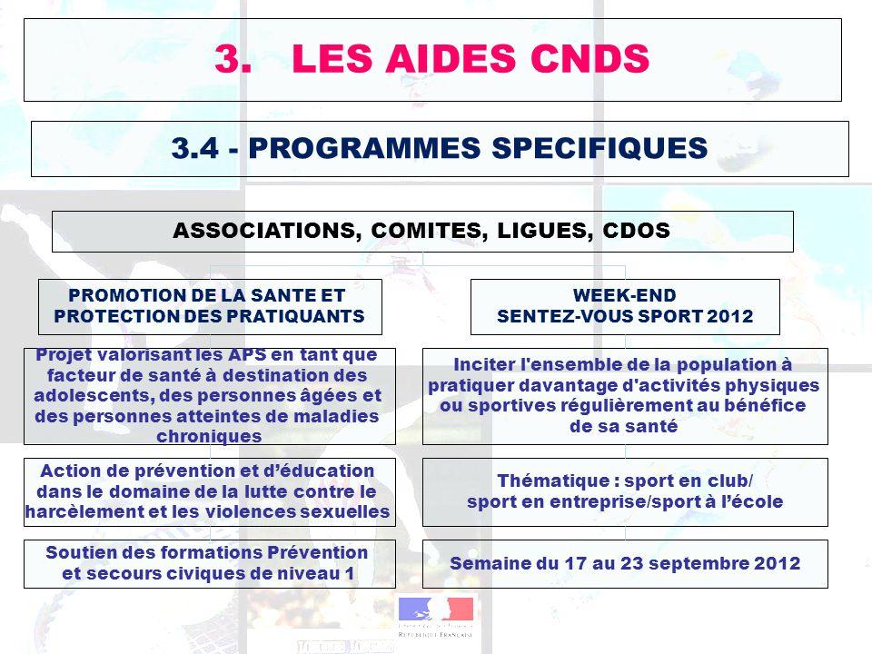 3. LES AIDES CNDS 3.4 - PROGRAMMES SPECIFIQUES