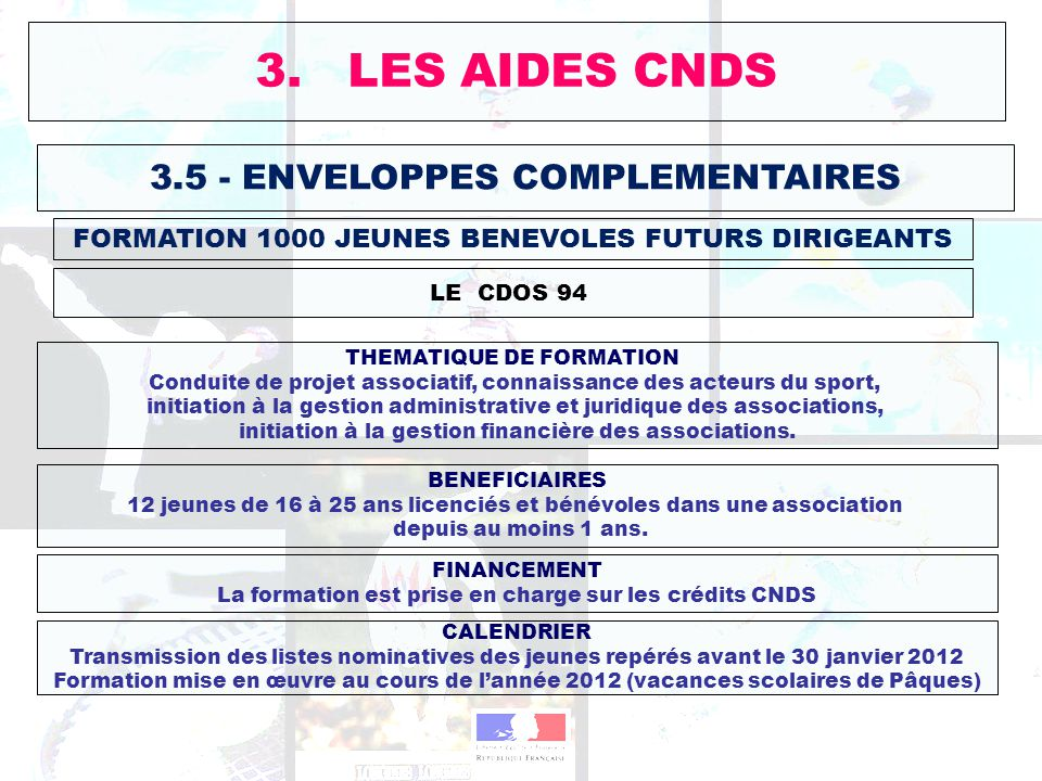 3. LES AIDES CNDS 3.5 - ENVELOPPES COMPLEMENTAIRES