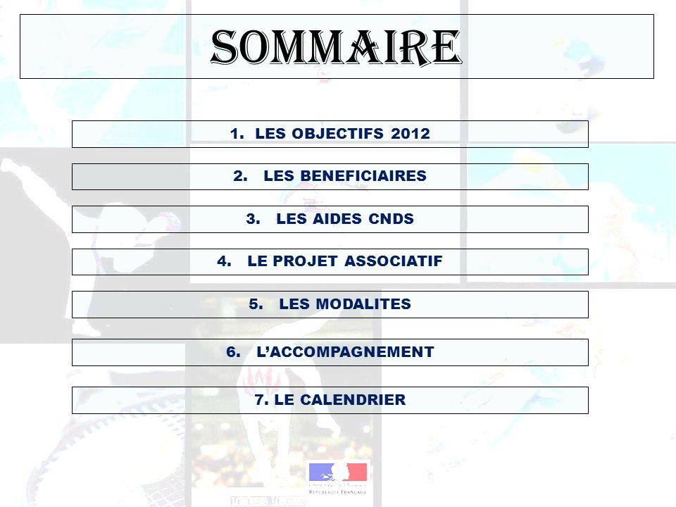 SOMMAIRE LES OBJECTIFS 2012 2. LES BENEFICIAIRES 3. LES AIDES CNDS