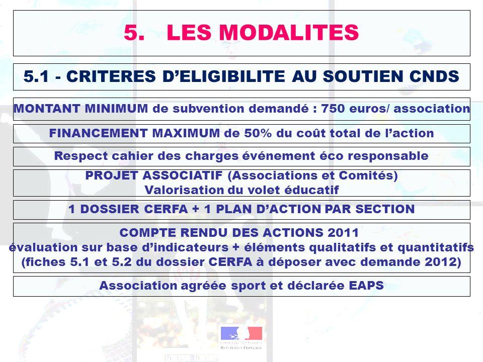 5. LES MODALITES 5.1 - CRITERES D'ELIGIBILITE AU SOUTIEN CNDS