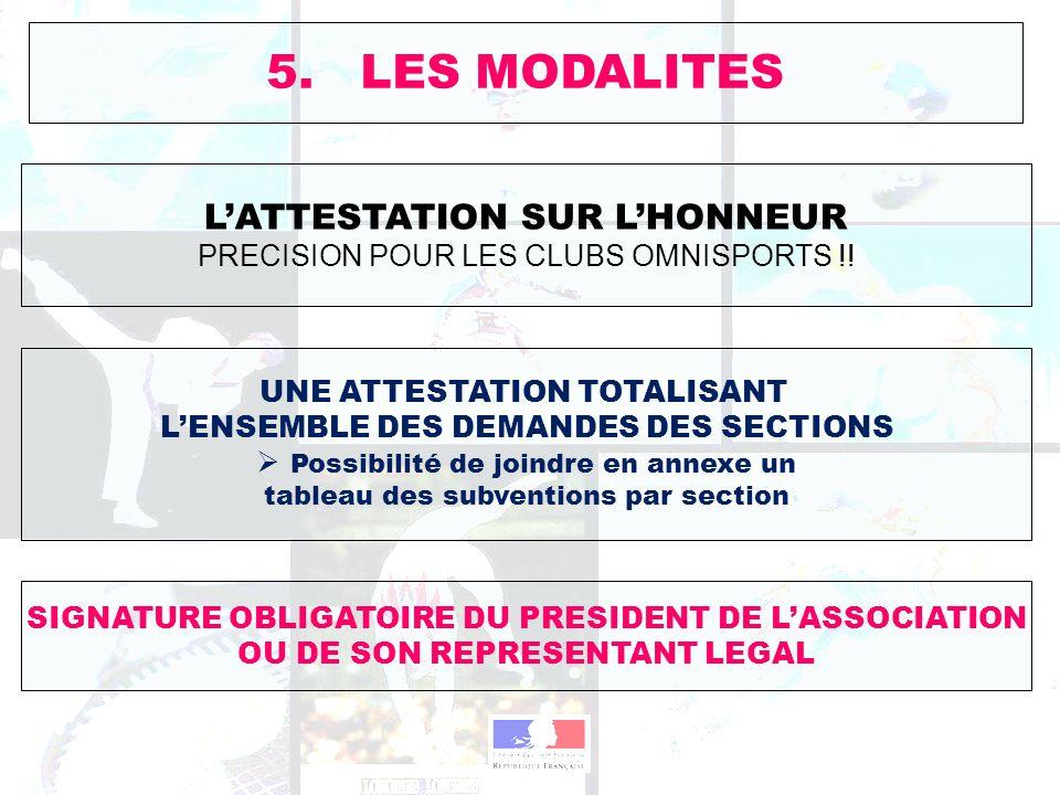 5. LES MODALITES L'ATTESTATION SUR L'HONNEUR