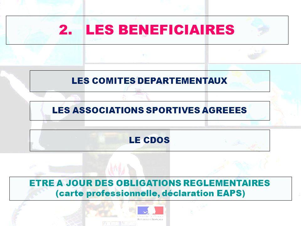 2. LES BENEFICIAIRES LES COMITES DEPARTEMENTAUX
