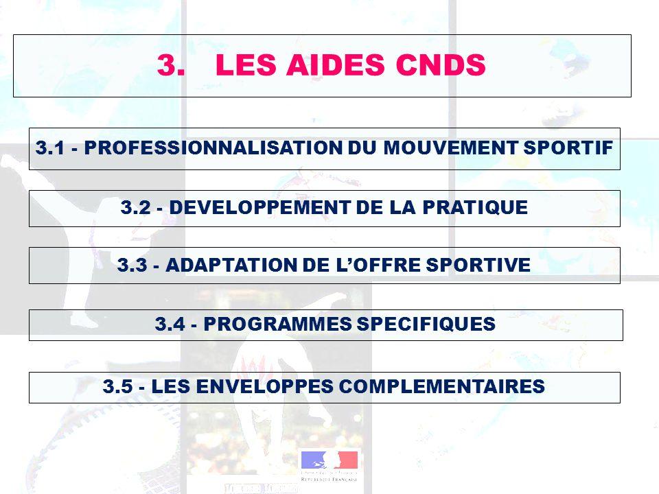 3. LES AIDES CNDS 3.1 - PROFESSIONNALISATION DU MOUVEMENT SPORTIF