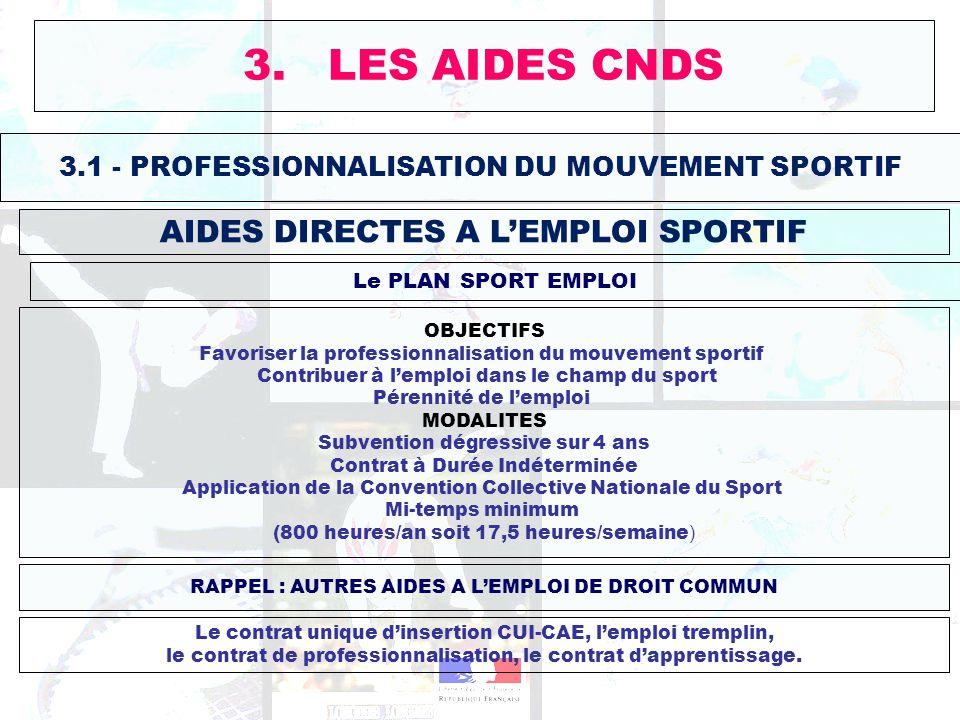 3. LES AIDES CNDS AIDES DIRECTES A L'EMPLOI SPORTIF