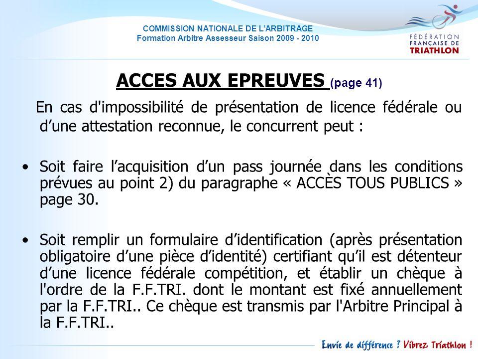 ACCES AUX EPREUVES (page 41)