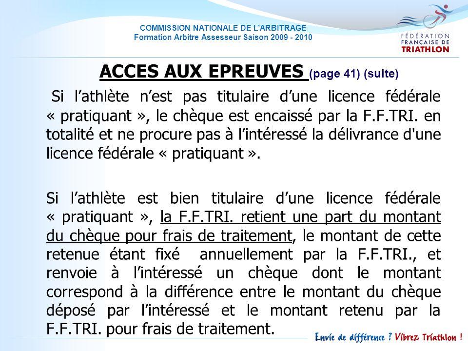 ACCES AUX EPREUVES (page 41) (suite)
