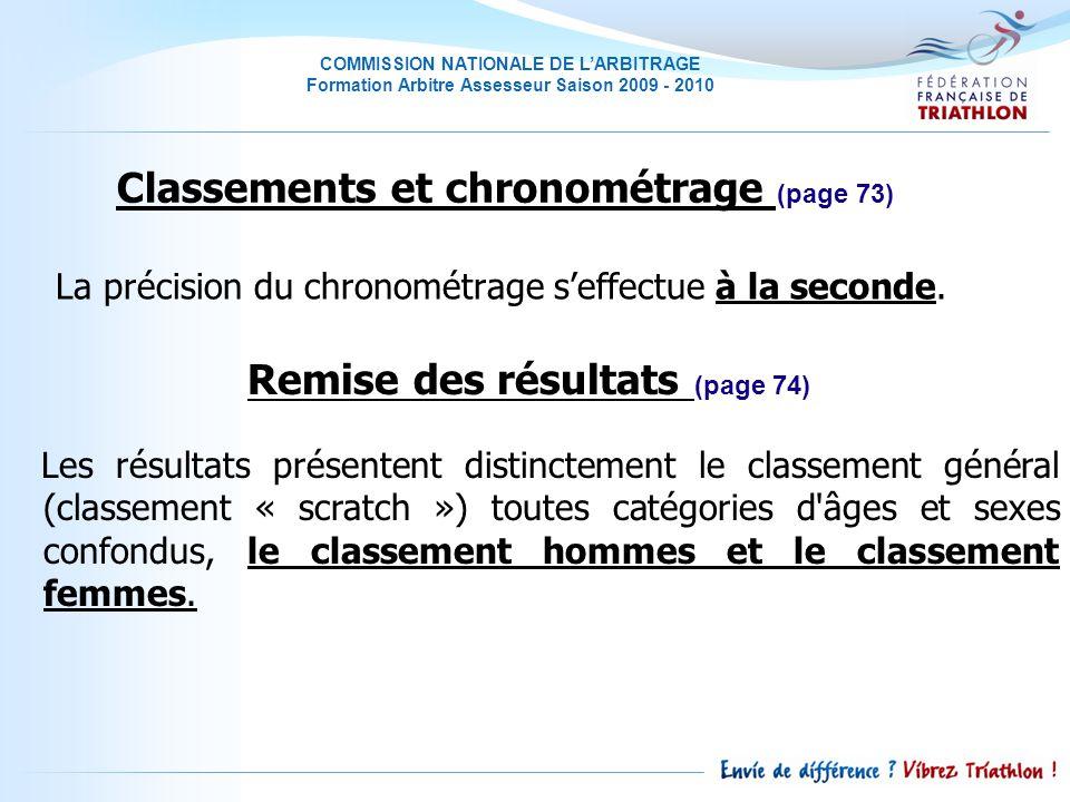 Classements et chronométrage (page 73) Remise des résultats (page 74)
