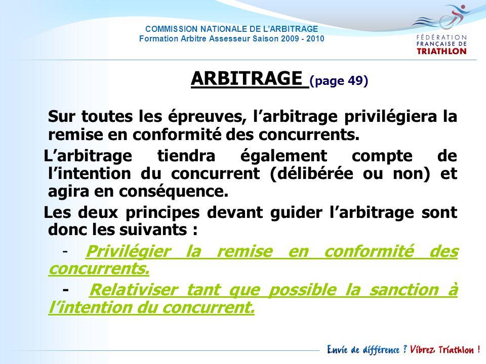 ARBITRAGE (page 49) Sur toutes les épreuves, l'arbitrage privilégiera la remise en conformité des concurrents.
