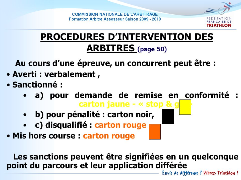 PROCEDURES D'INTERVENTION DES ARBITRES (page 50)