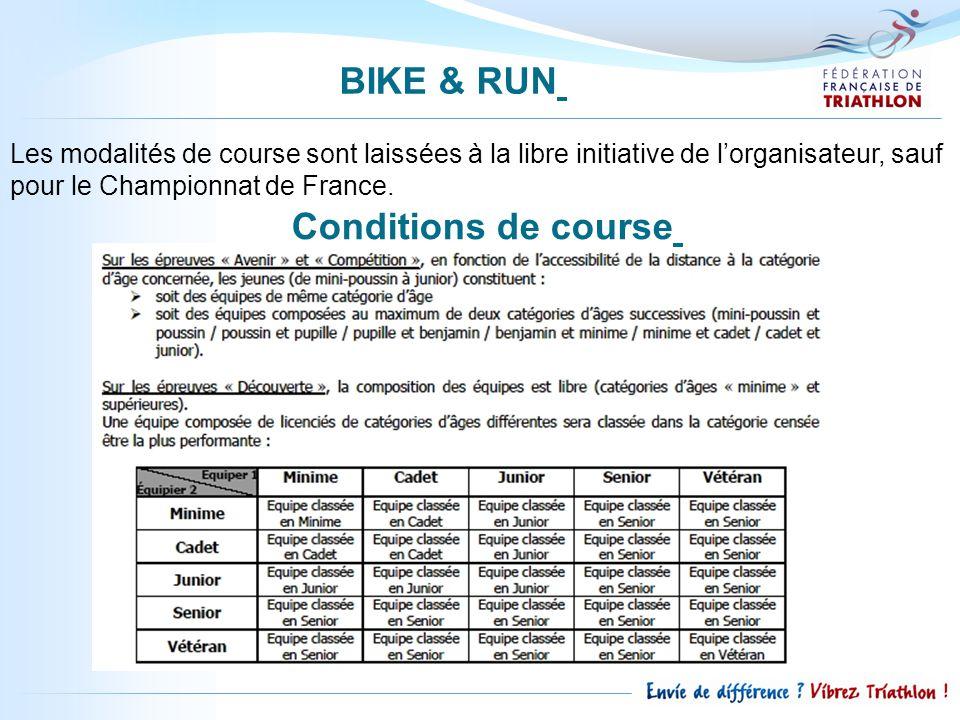 BIKE & RUN Conditions de course