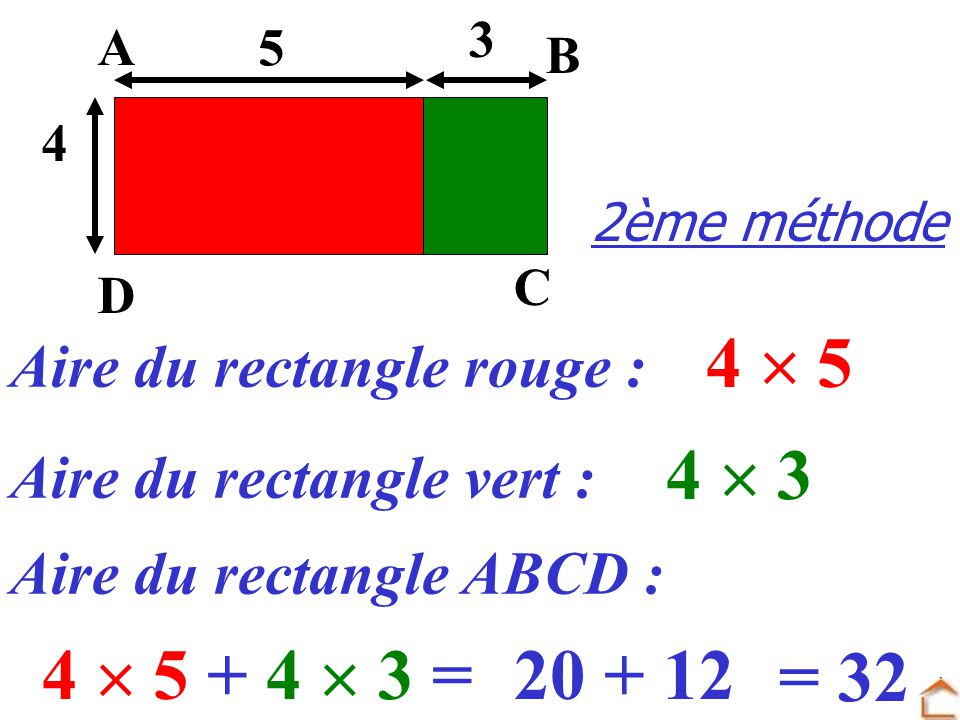 4  5 4  3 4  5 + 4  3 = 20 + 12 = 32 Aire du rectangle rouge :