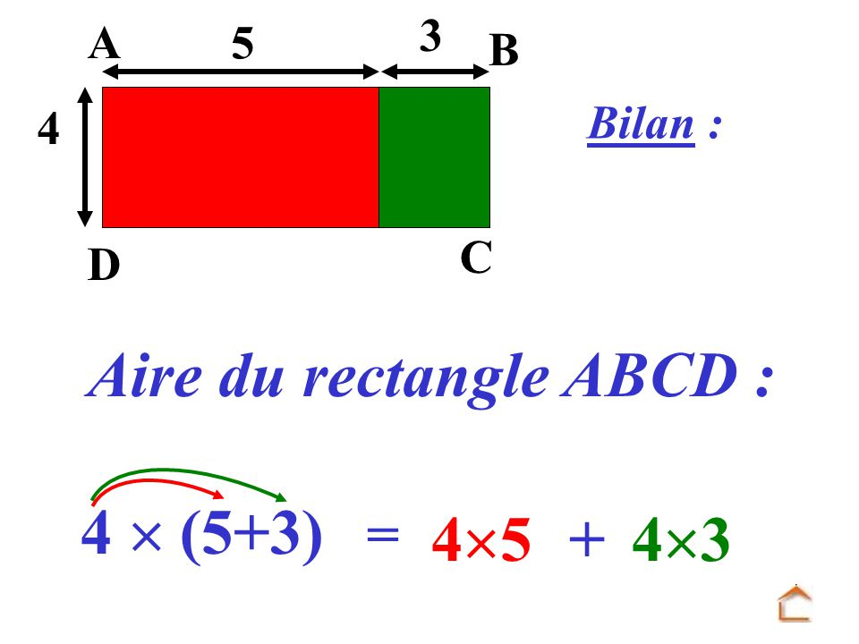 Aire du rectangle ABCD :