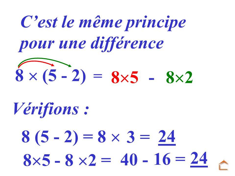 C'est le même principe pour une différence 8  (5 - 2) 85 - 82