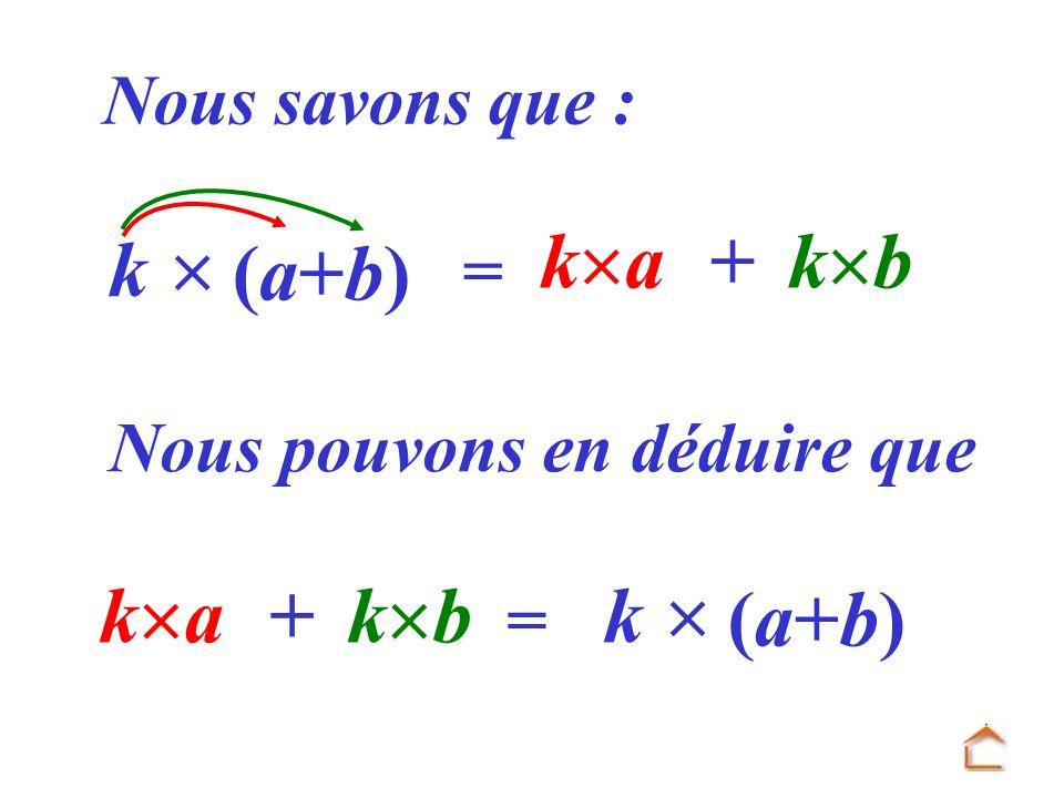 k  (a+b) ka + kb ka + kb k  (a+b) Nous savons que : =