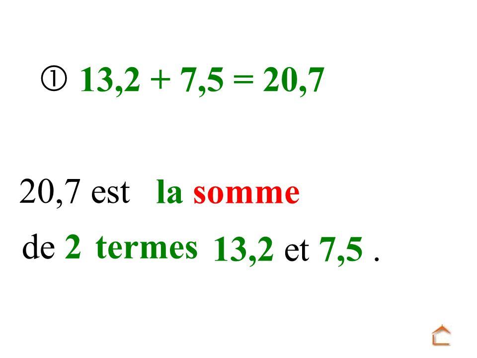  13,2 + 7,5 = 20,7 20,7 est la somme de 2 termes 13,2 et 7,5 .