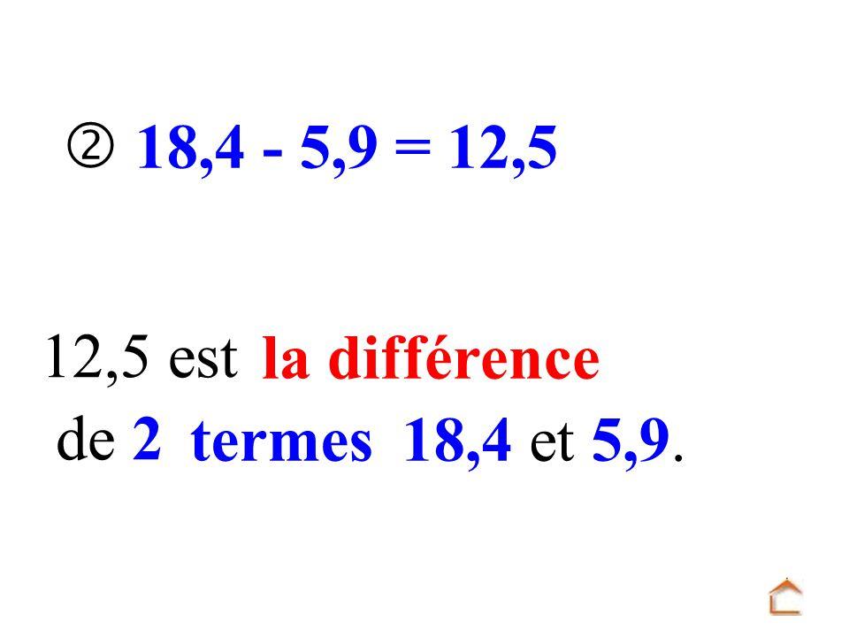  18,4 - 5,9 = 12,5 12,5 est la différence de 2 termes 18,4 et 5,9.
