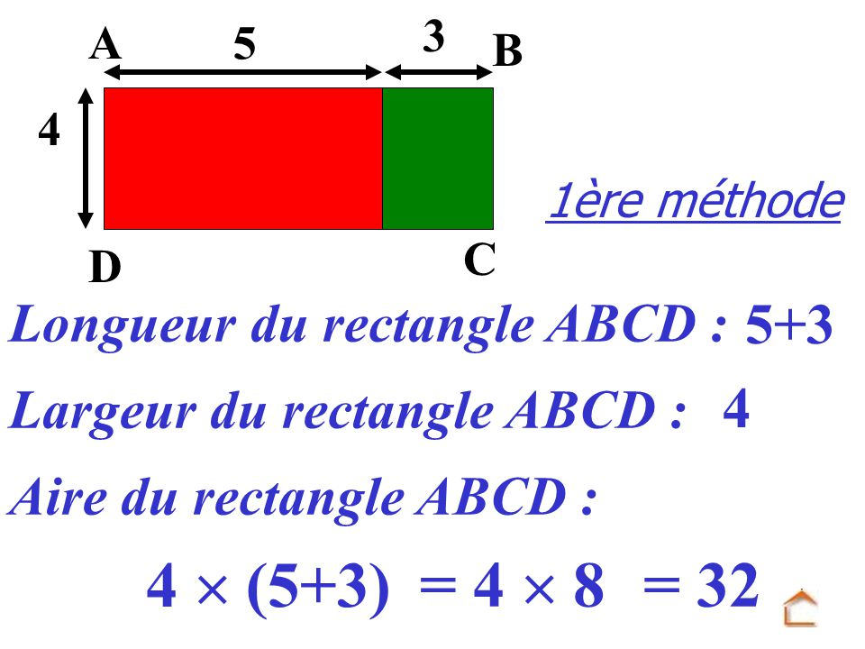 4  (5+3) = 4  8 = 32 5+3 4 Longueur du rectangle ABCD :