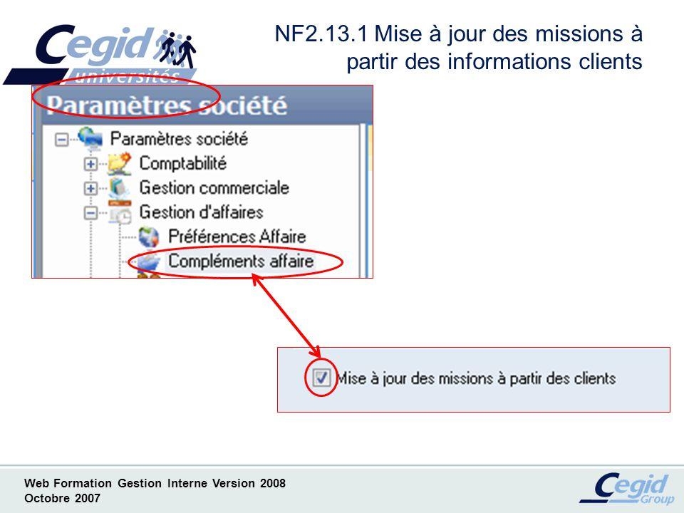 NF2.13.1 Mise à jour des missions à partir des informations clients