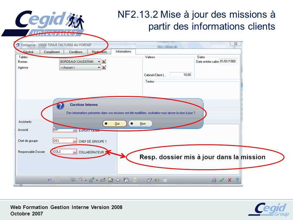 NF2.13.2 Mise à jour des missions à partir des informations clients
