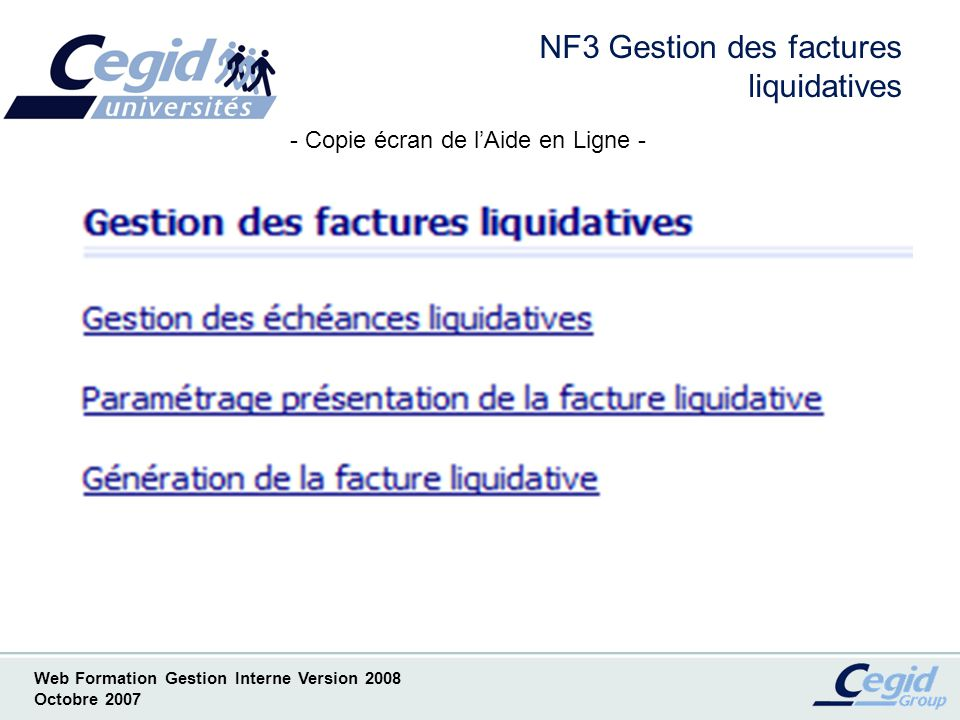 NF3 Gestion des factures liquidatives