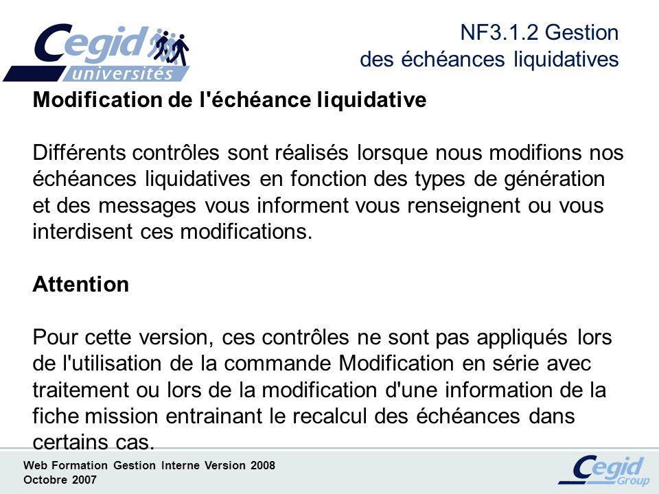 NF3.1.2 Gestion des échéances liquidatives