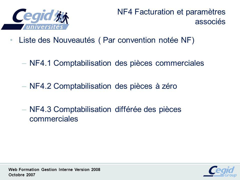 NF4 Facturation et paramètres associés