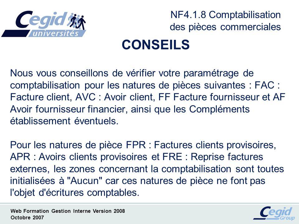 NF4.1.8 Comptabilisation des pièces commerciales