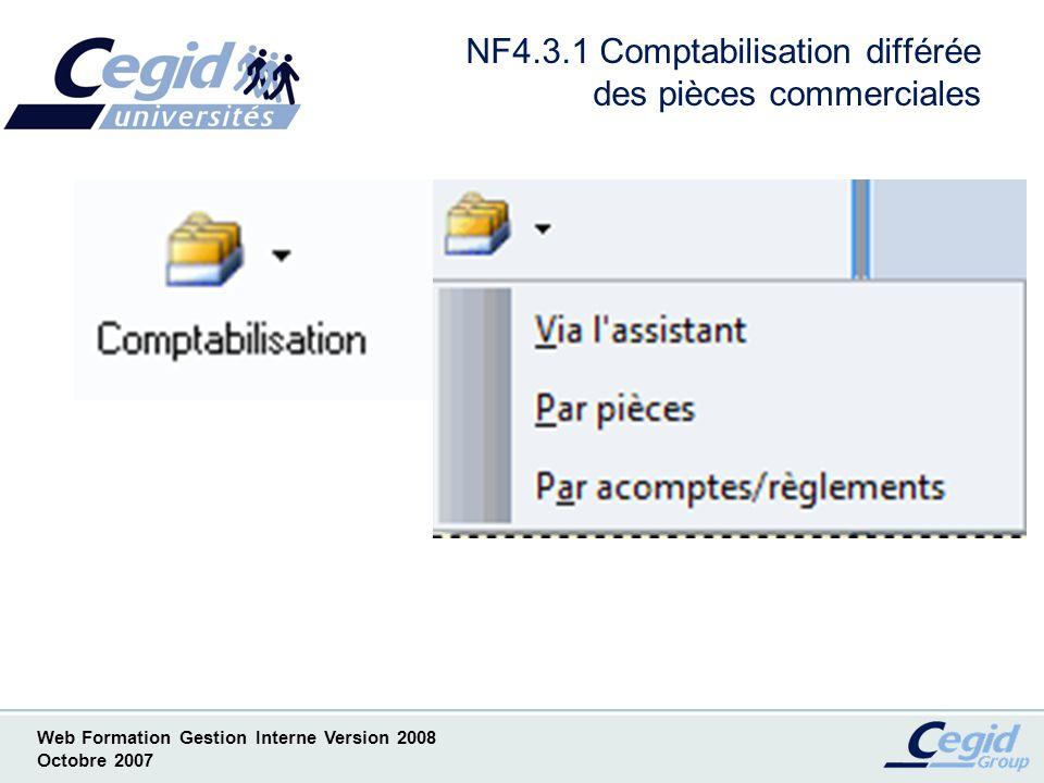 NF4.3.1 Comptabilisation différée des pièces commerciales
