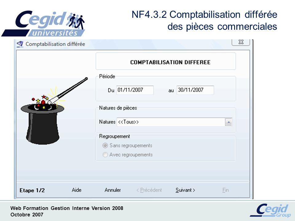 NF4.3.2 Comptabilisation différée des pièces commerciales