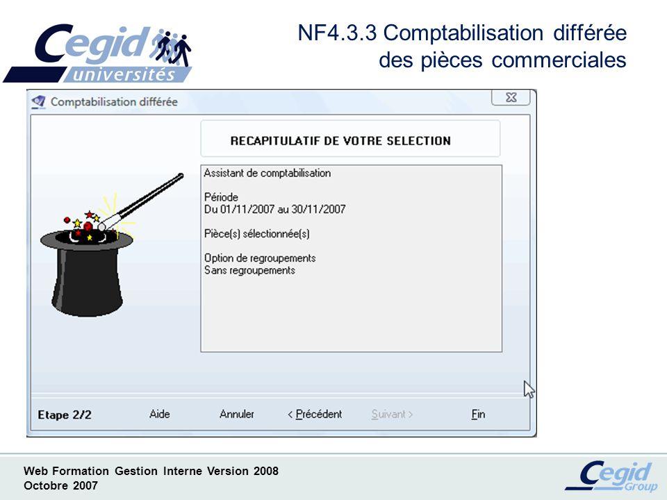 NF4.3.3 Comptabilisation différée des pièces commerciales