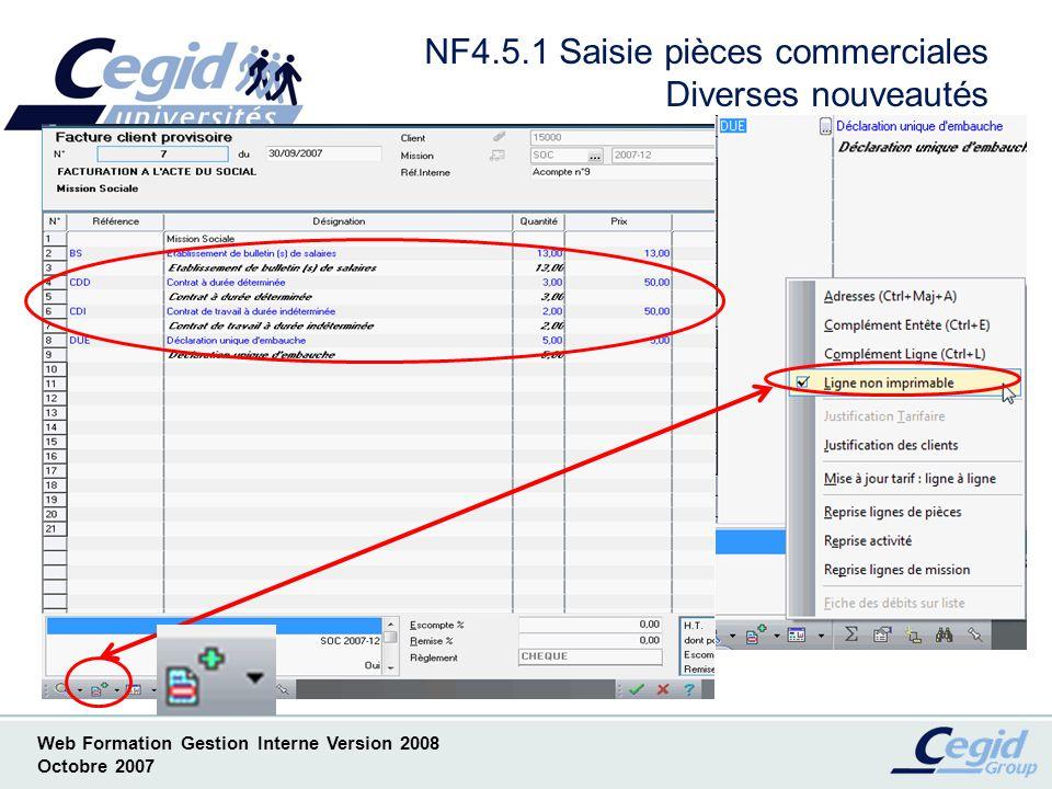 NF4.5.1 Saisie pièces commerciales Diverses nouveautés