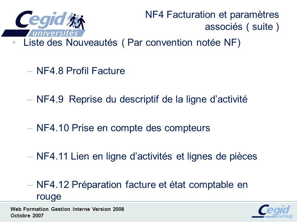 NF4 Facturation et paramètres associés ( suite )