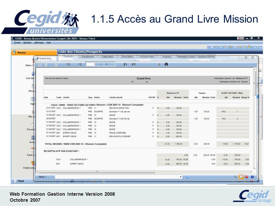 1.1.5 Accès au Grand Livre Mission