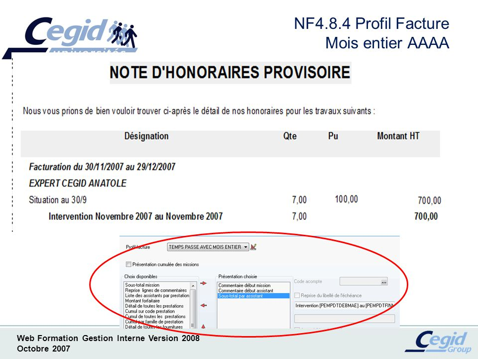 NF4.8.4 Profil Facture Mois entier AAAA