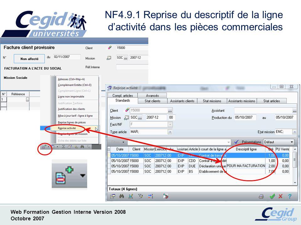 NF4.9.1 Reprise du descriptif de la ligne d'activité dans les pièces commerciales