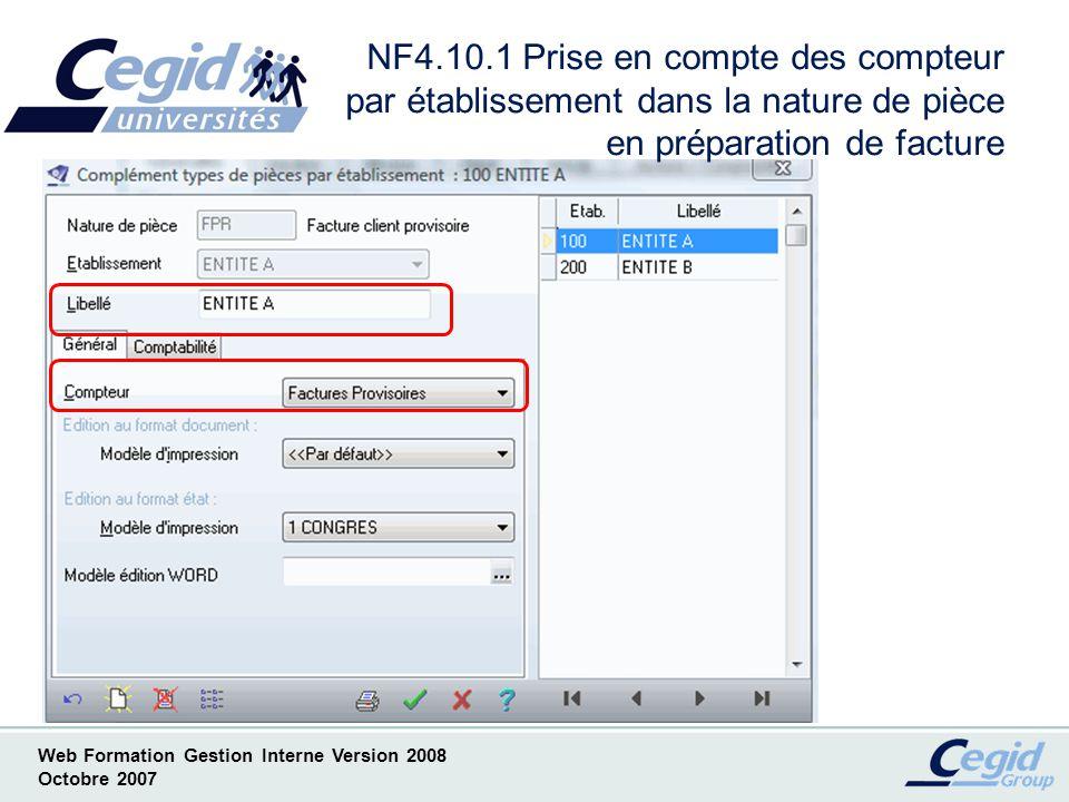 NF4.10.1 Prise en compte des compteur par établissement dans la nature de pièce en préparation de facture