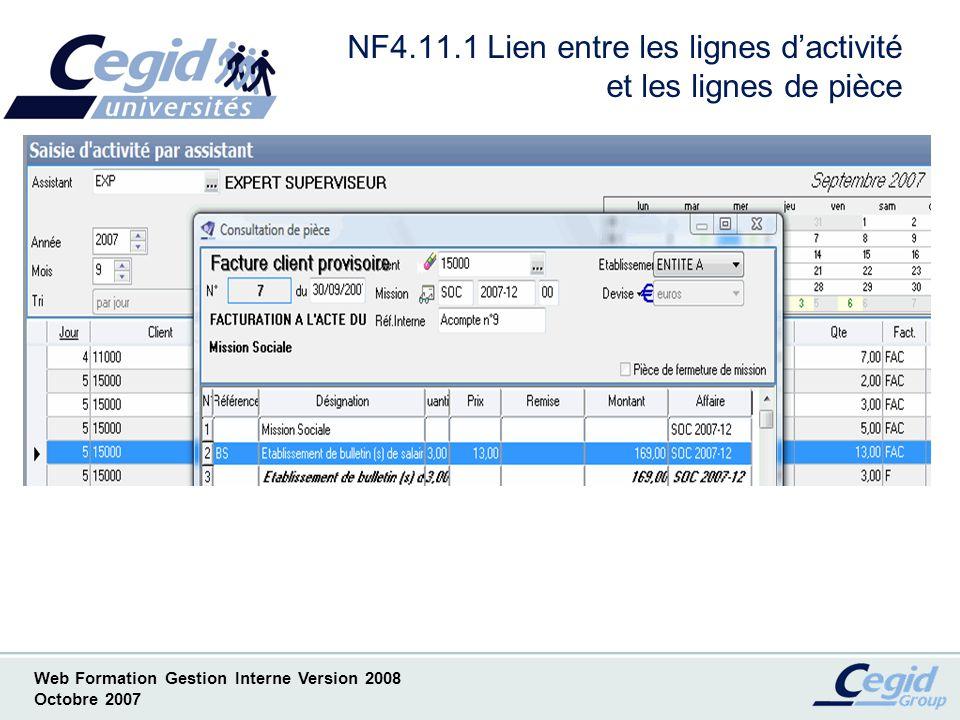 NF4.11.1 Lien entre les lignes d'activité et les lignes de pièce