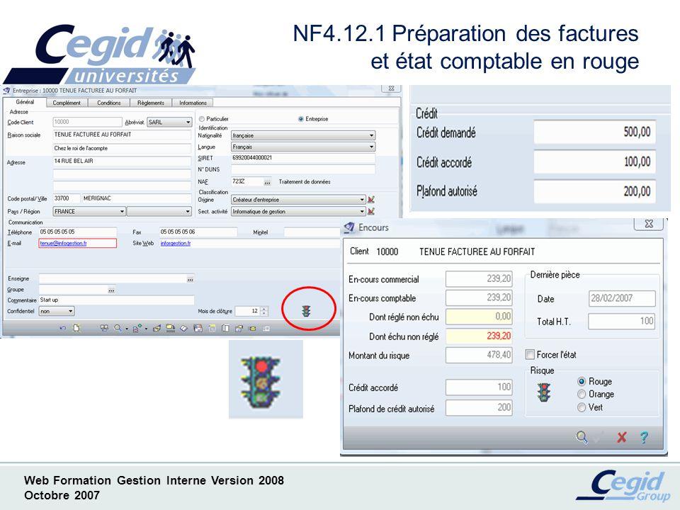 NF4.12.1 Préparation des factures et état comptable en rouge