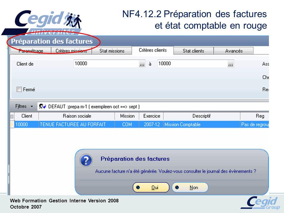 NF4.12.2 Préparation des factures et état comptable en rouge