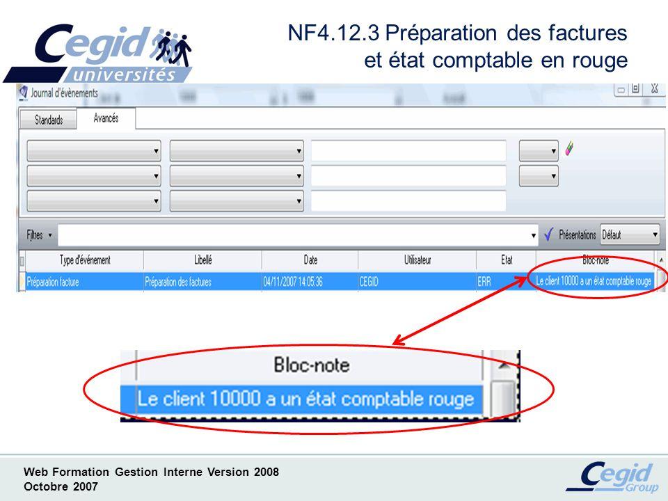 NF4.12.3 Préparation des factures et état comptable en rouge