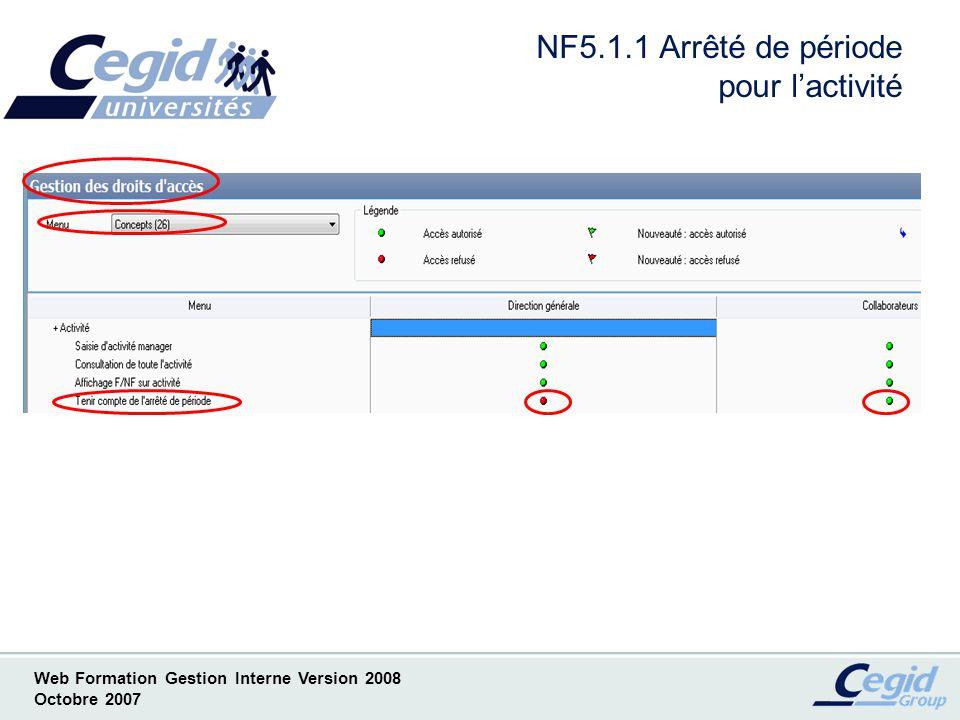 NF5.1.1 Arrêté de période pour l'activité